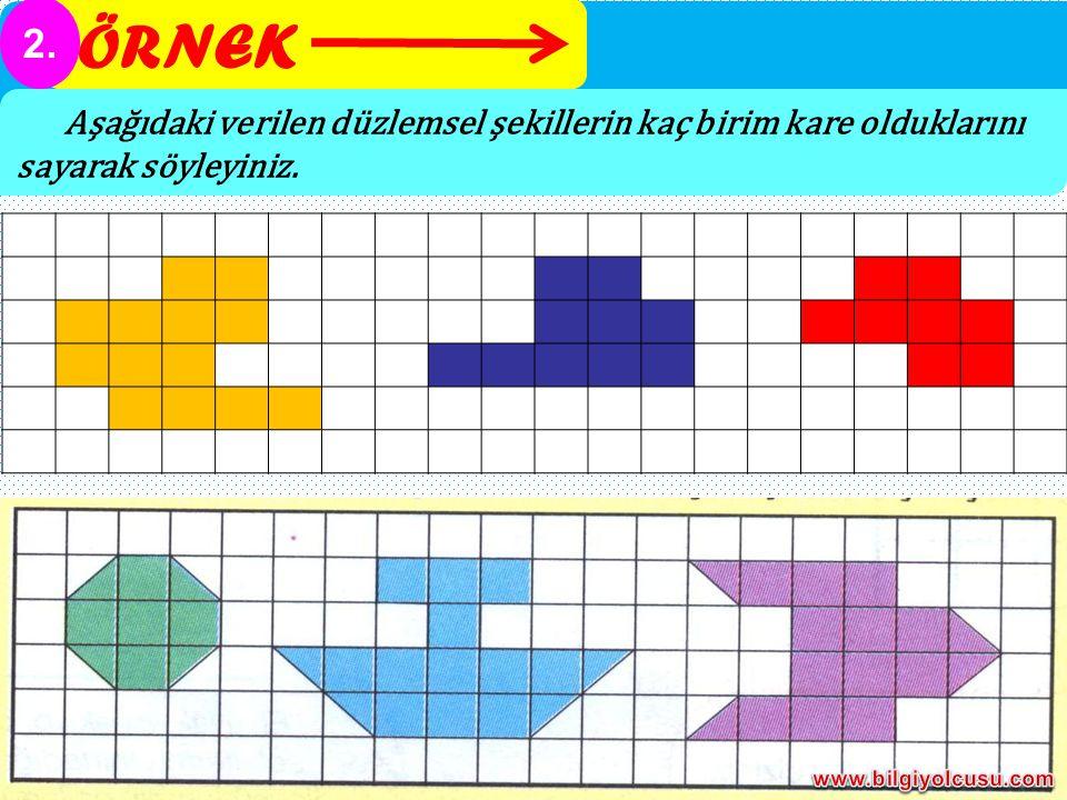 ÖRNEK 2. Aşağıdaki verilen düzlemsel şekillerin kaç birim kare olduklarını sayarak söyleyiniz.