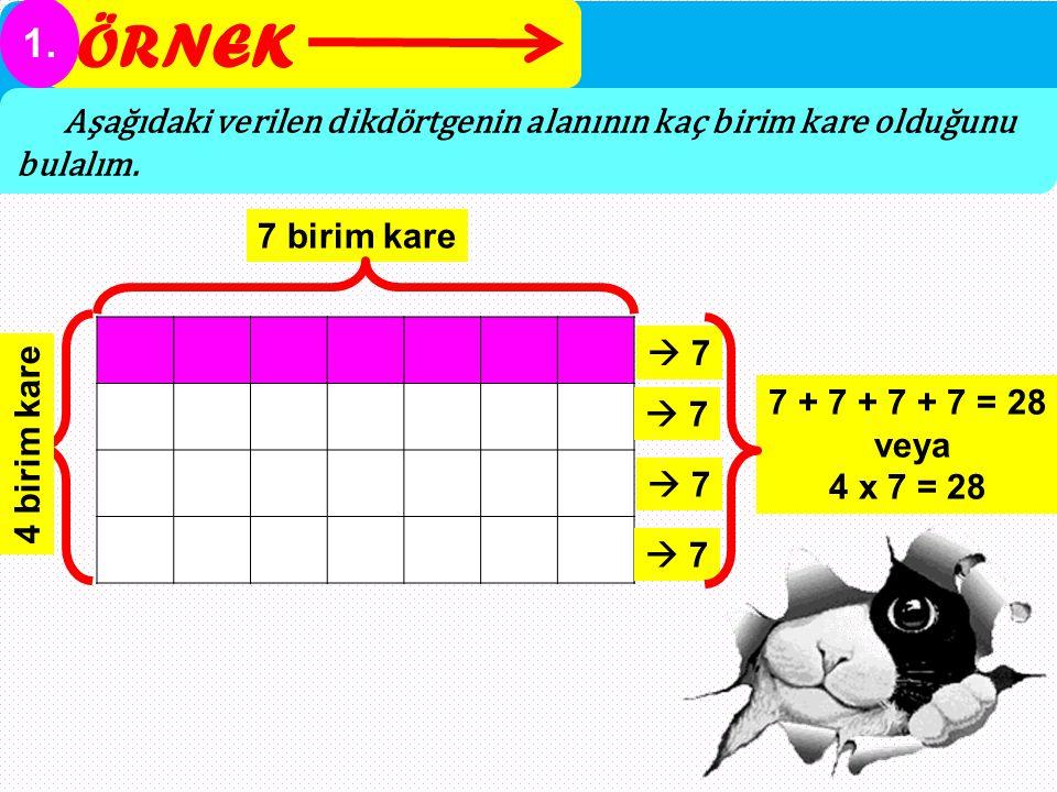 ÖRNEK 1. Aşağıdaki verilen dikdörtgenin alanının kaç birim kare olduğunu bulalım. 7 birim kare.  7.