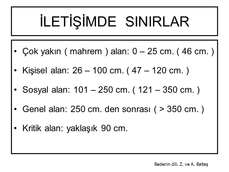 İLETİŞİMDE SINIRLAR Çok yakın ( mahrem ) alan: 0 – 25 cm. ( 46 cm. )