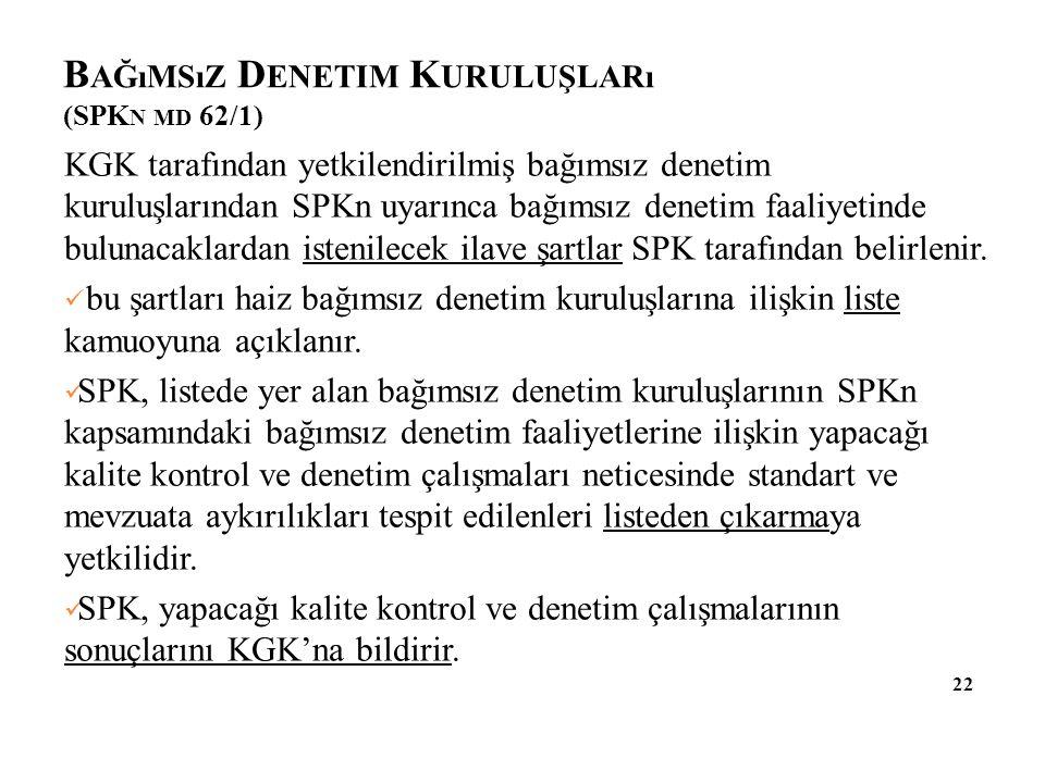 Bağımsız Denetim Kuruluşları (SPKn md 62/1)
