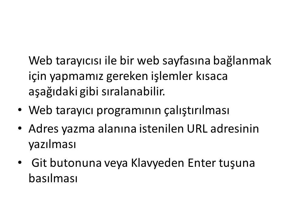 Web tarayıcısı ile bir web sayfasına bağlanmak için yapmamız gereken işlemler kısaca aşağıdaki gibi sıralanabilir.