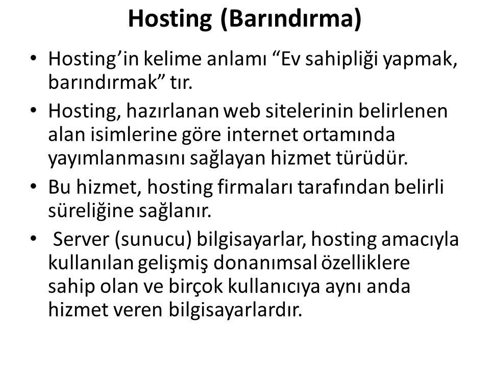 Hosting (Barındırma) Hosting'in kelime anlamı Ev sahipliği yapmak, barındırmak tır.