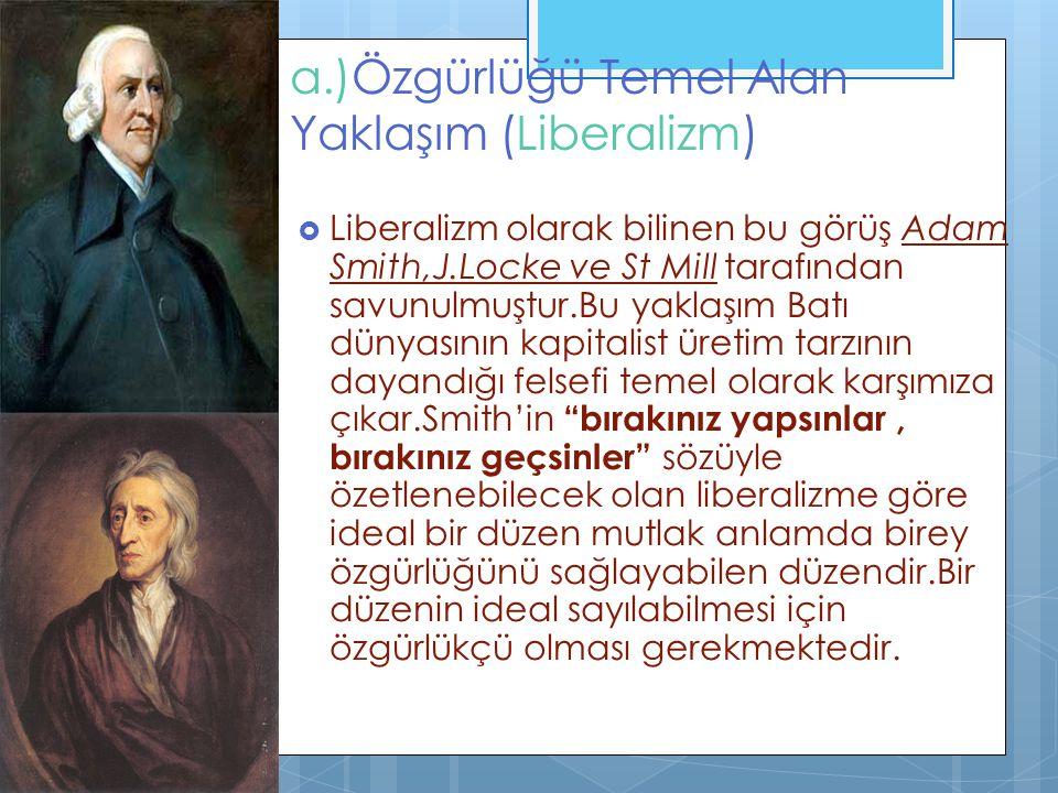 a.)Özgürlüğü Temel Alan Yaklaşım (Liberalizm)
