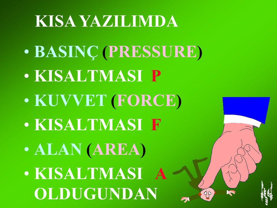 KISA YAZILIMDA BASINÇ (PRESSURE) KISALTMASI P. KUVVET (FORCE) KISALTMASI F.