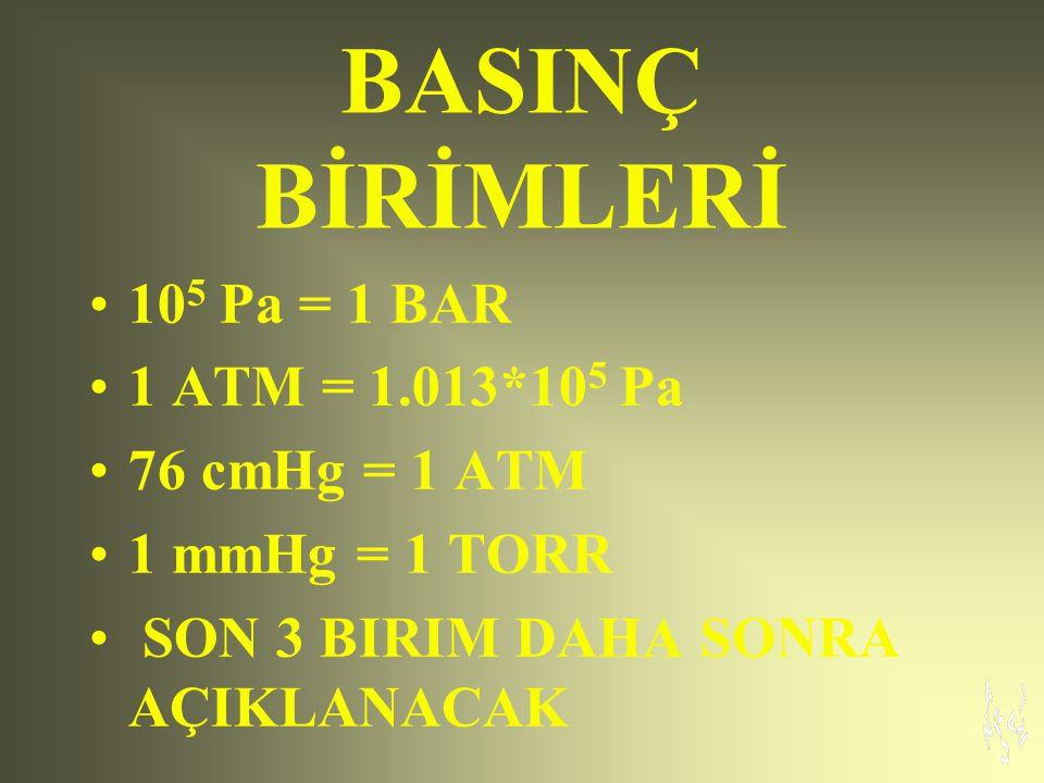 BASINÇ BİRİMLERİ 105 Pa = 1 BAR 1 ATM = 1.013*105 Pa 76 cmHg = 1 ATM