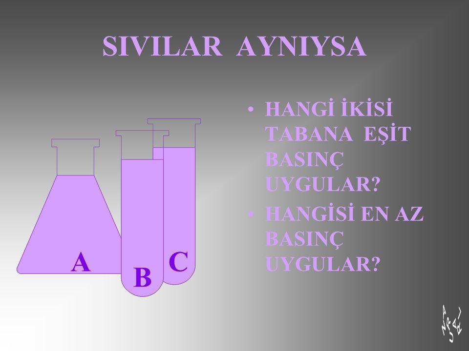SIVILAR AYNIYSA A C B HANGİ İKİSİ TABANA EŞİT BASINÇ UYGULAR