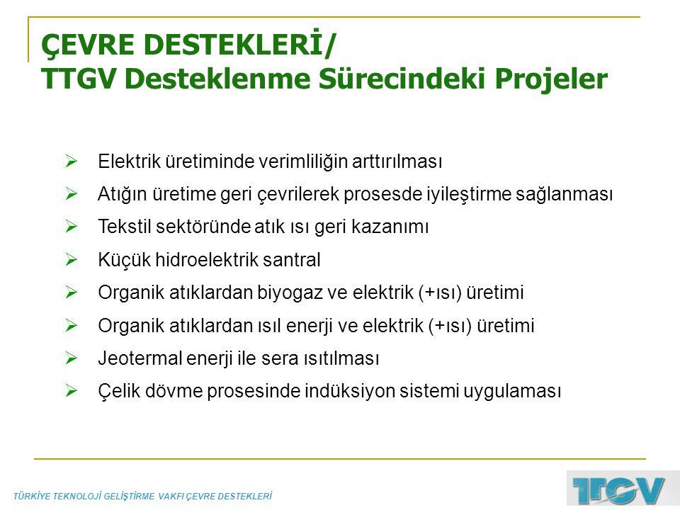 ÇEVRE DESTEKLERİ/ TTGV Desteklenme Sürecindeki Projeler