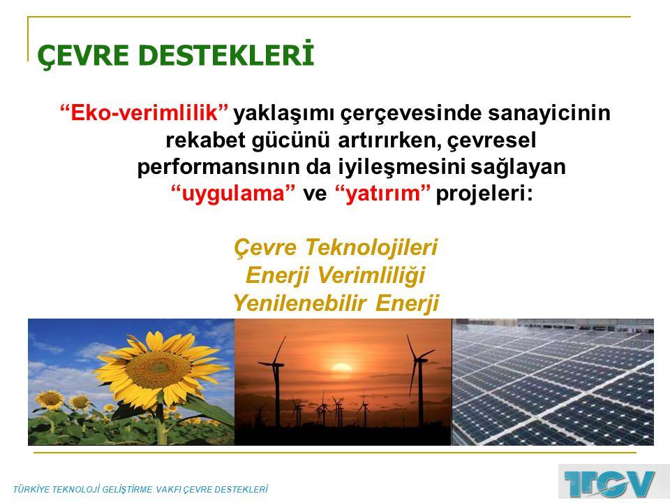 ÇEVRE DESTEKLERİ Çevre Teknolojileri Enerji Verimliliği
