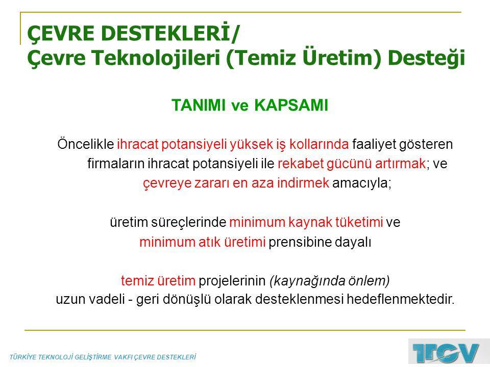 ÇEVRE DESTEKLERİ/ Çevre Teknolojileri (Temiz Üretim) Desteği