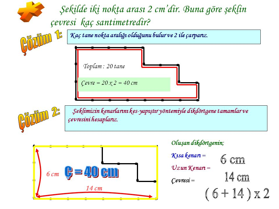 * Çözüm 1: Çözüm 2: 6 cm Ç = 40 cm 14 cm ( 6 + 14 ) x 2