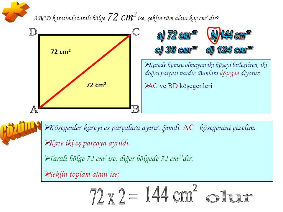* A B D C a) 72 cm 2 b) 144 cm 2 c) 36 cm 2 d) 124 cm 2 Çözüm : 144 cm