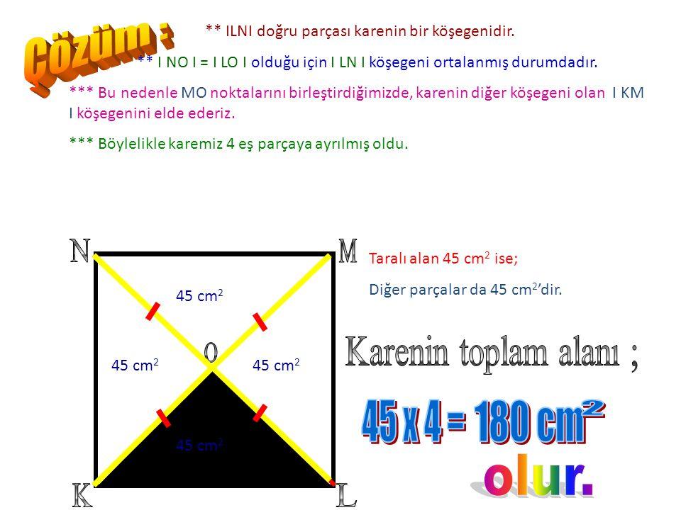 Çözüm : K L N M O Karenin toplam alanı ; 45 x 4 = 180 cm 2 olur.