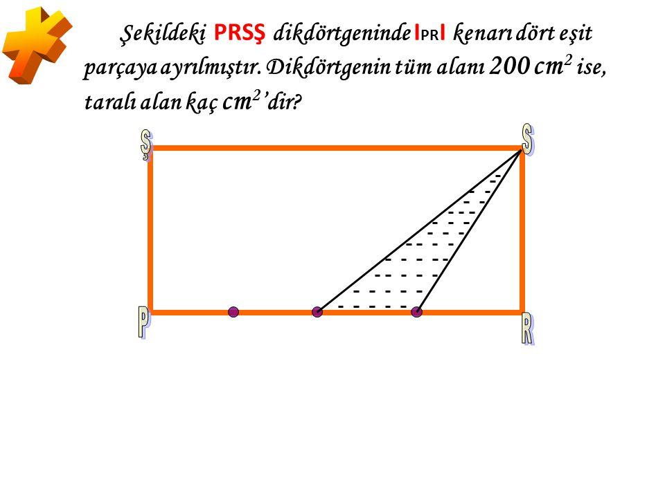* Şekildeki PRSŞ dikdörtgeninde IPRI kenarı dört eşit parçaya ayrılmıştır. Dikdörtgenin tüm alanı 200 cm2 ise, taralı alan kaç cm2'dir