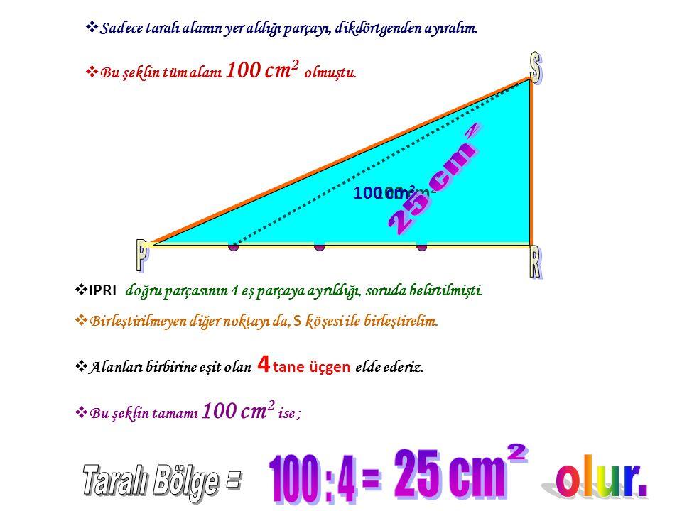 P R S 25 cm 2 25 cm 2 100 : 4 = olur. Taralı Bölge = 100 cm2 100 cm2