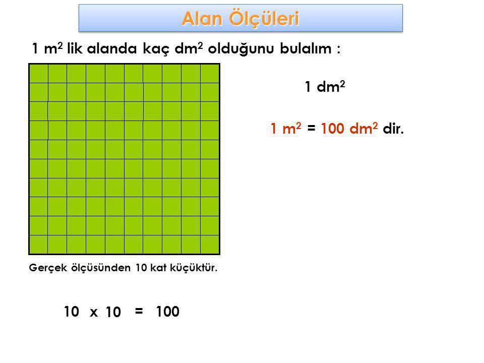 Alan Ölçüleri 1 m2 lik alanda kaç dm2 olduğunu bulalım : 1 dm2