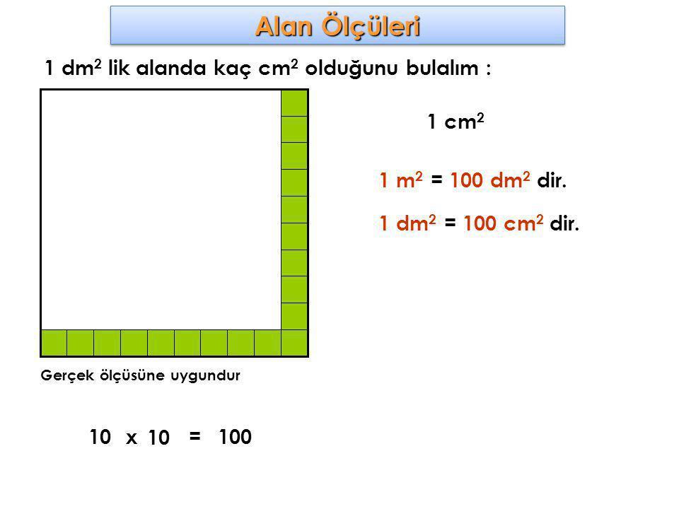Alan Ölçüleri 1 dm2 lik alanda kaç cm2 olduğunu bulalım : 1 cm2