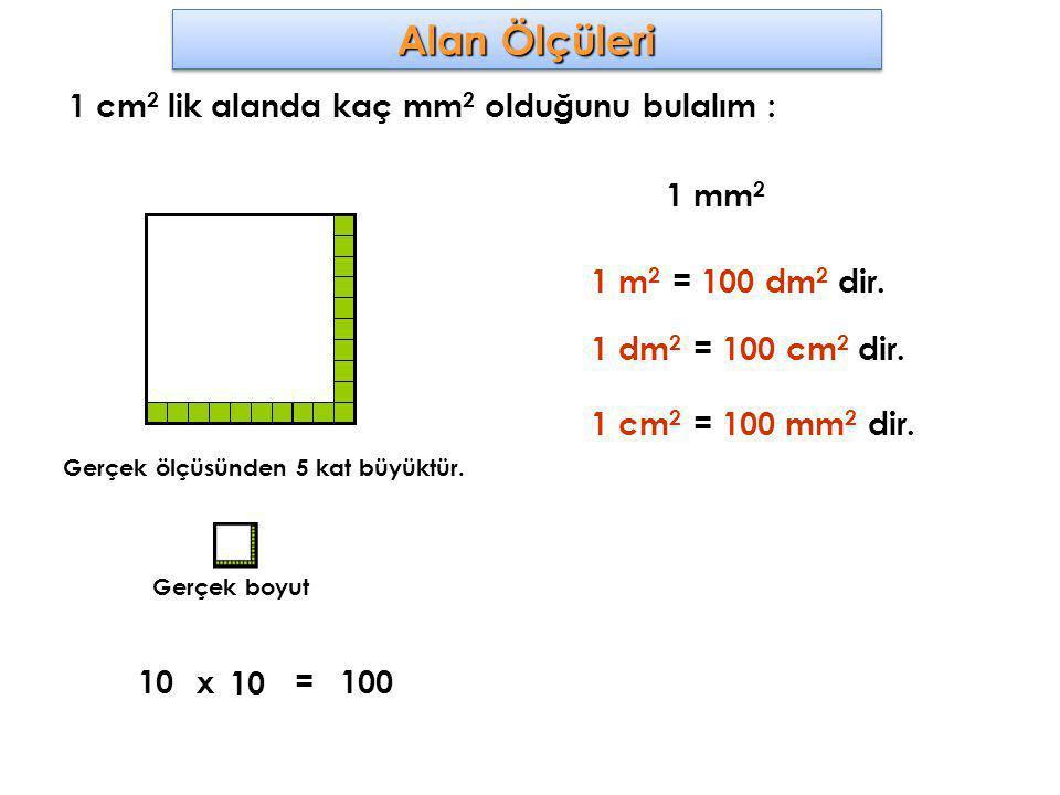 Alan Ölçüleri 1 cm2 lik alanda kaç mm2 olduğunu bulalım : 1 mm2