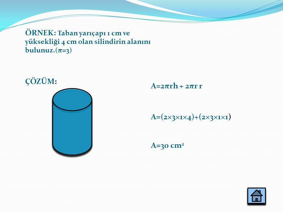 ÖRNEK: Taban yarıçapı 1 cm ve yüksekliği 4 cm olan silindirin alanını bulunuz.(π=3)
