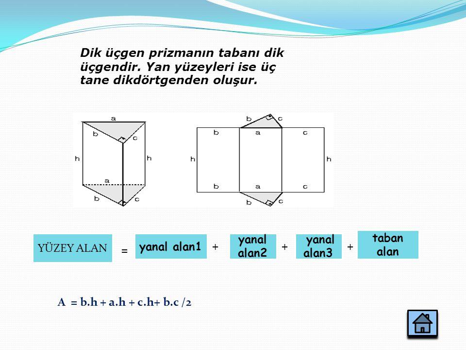 Dik üçgen prizmanın tabanı dik üçgendir