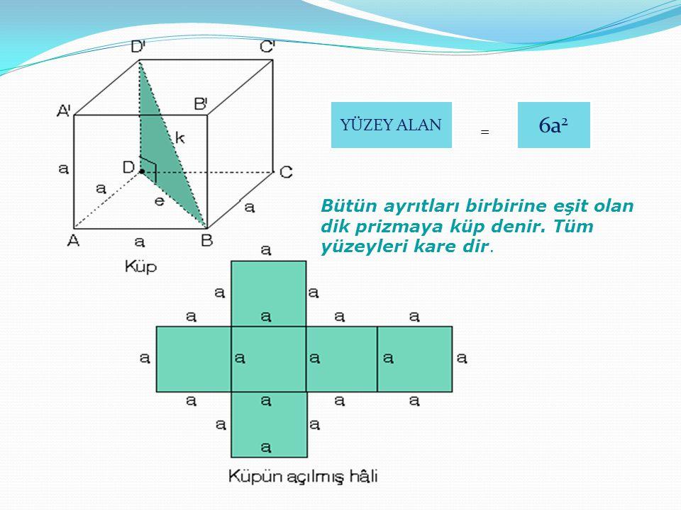 YÜZEY ALAN 6a2. = Bütün ayrıtları birbirine eşit olan dik prizmaya küp denir. Tüm yüzeyleri kare dir.