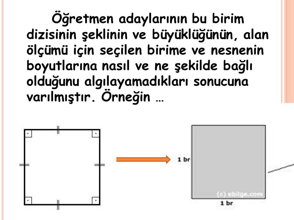 Öğretmen adaylarının bu birim dizisinin şeklinin ve büyüklüğünün, alan ölçümü için seçilen birime ve nesnenin boyutlarına nasıl ve ne şekilde bağlı olduğunu algılayamadıkları sonucuna varılmıştır.