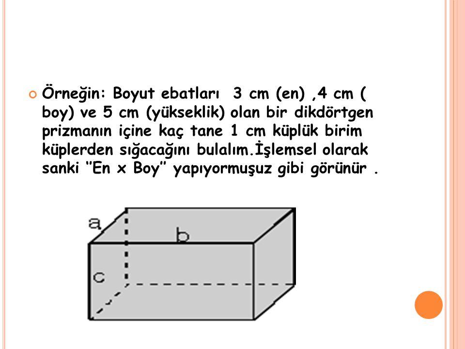 Örneğin: Boyut ebatları 3 cm (en) ,4 cm ( boy) ve 5 cm (yükseklik) olan bir dikdörtgen prizmanın içine kaç tane 1 cm küplük birim küplerden sığacağını bulalım.İşlemsel olarak sanki ''En x Boy'' yapıyormuşuz gibi görünür .