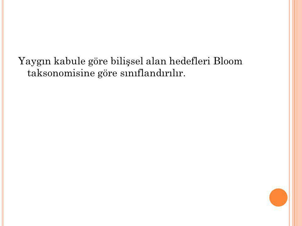 Yaygın kabule göre bilişsel alan hedefleri Bloom taksonomisine göre sınıflandırılır.