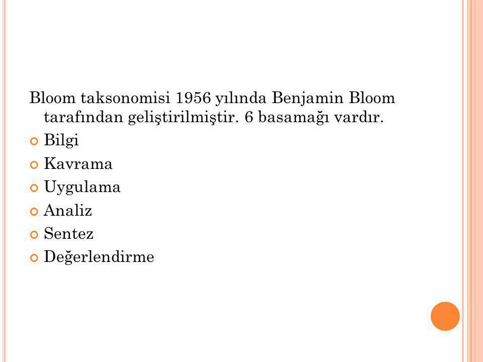 Bloom taksonomisi 1956 yılında Benjamin Bloom tarafından geliştirilmiştir. 6 basamağı vardır.