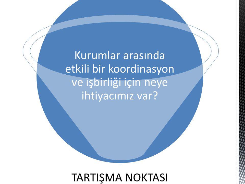 TARTIŞMA NOKTASI Kurumlar arasında etkili bir koordinasyon ve işbirliği için neye ihtiyacımız var