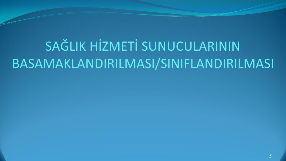 SAĞLIK HİZMETİ SUNUCULARININ BASAMAKLANDIRILMASI/SINIFLANDIRILMASI