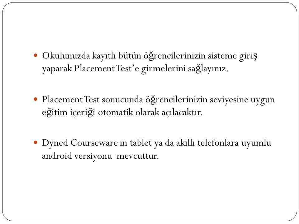 Okulunuzda kayıtlı bütün öğrencilerinizin sisteme giriş yaparak Placement Test'e girmelerini sağlayınız.