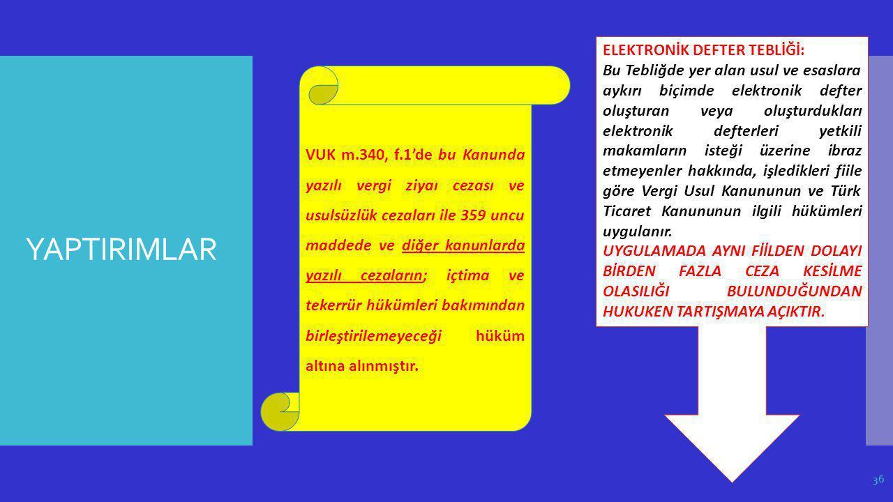 YAPTIRIMLAR ELEKTRONİK DEFTER TEBLİĞİ: