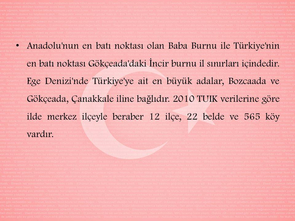 Anadolu nun en batı noktası olan Baba Burnu ile Türkiye nin en batı noktası Gökçeada daki İncir burnu il sınırları içindedir.