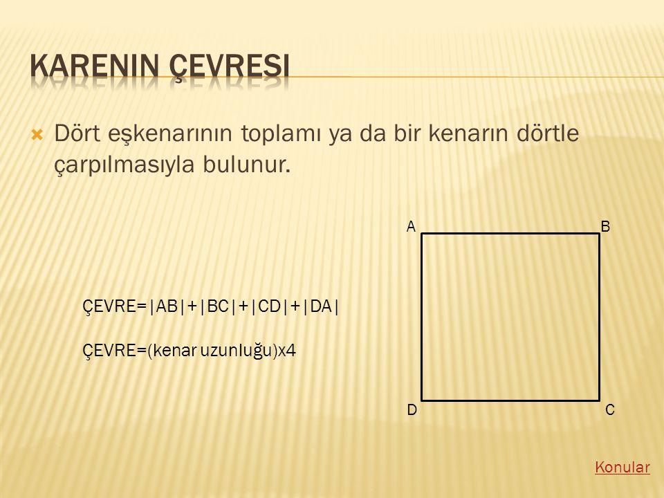 Karenin çevresi Dört eşkenarının toplamı ya da bir kenarın dörtle çarpılmasıyla bulunur. A. B. ÇEVRE=|AB|+|BC|+|CD|+|DA|
