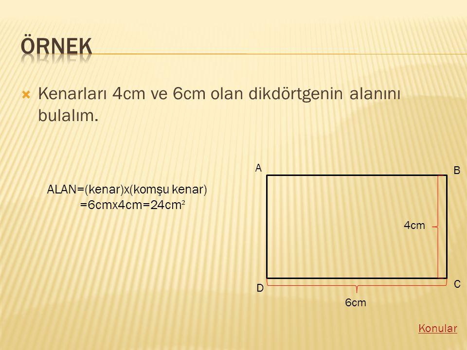 örnek Kenarları 4cm ve 6cm olan dikdörtgenin alanını bulalım.