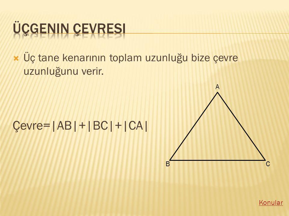 Üçgenin çevresi Çevre=|AB|+|BC|+|CA|