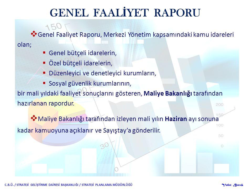 GENEL FAALİYET RAPORU Genel Faaliyet Raporu, Merkezi Yönetim kapsamındaki kamu idareleri. olan; Genel bütçeli idarelerin,