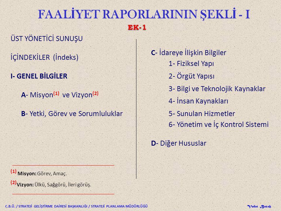 FAALİYET RAPORLARININ ŞEKLİ - I