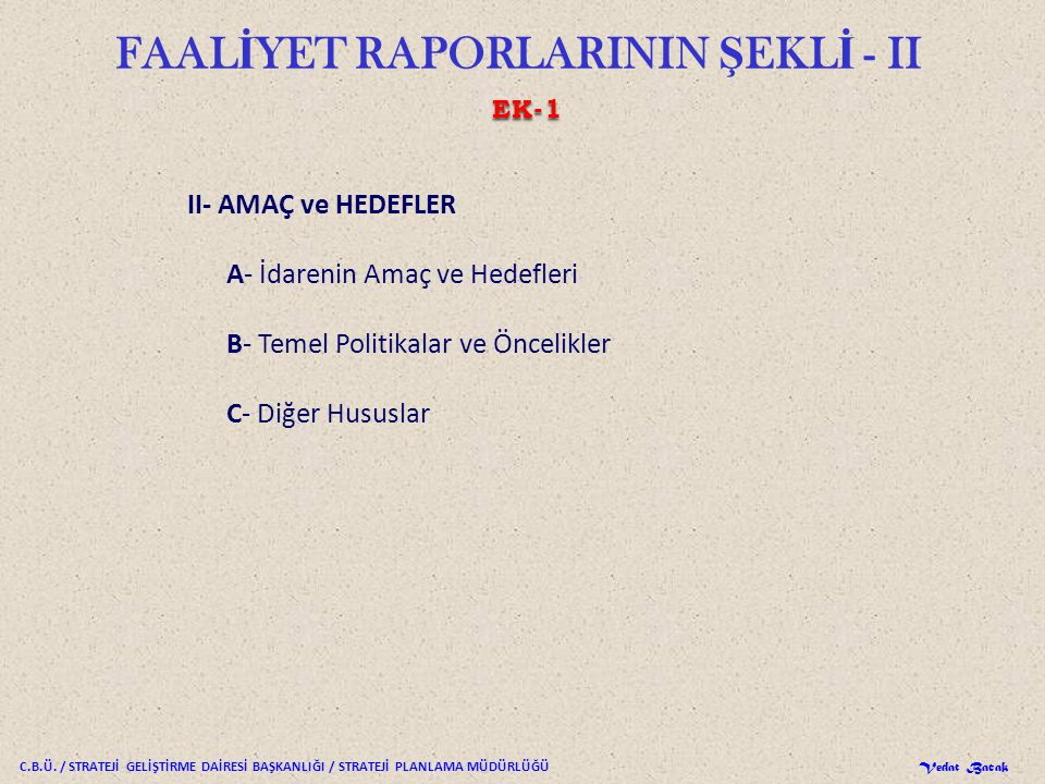 FAALİYET RAPORLARININ ŞEKLİ - II