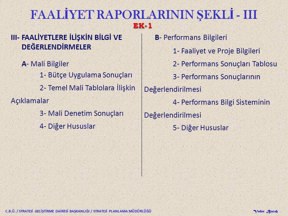 FAALİYET RAPORLARININ ŞEKLİ - III