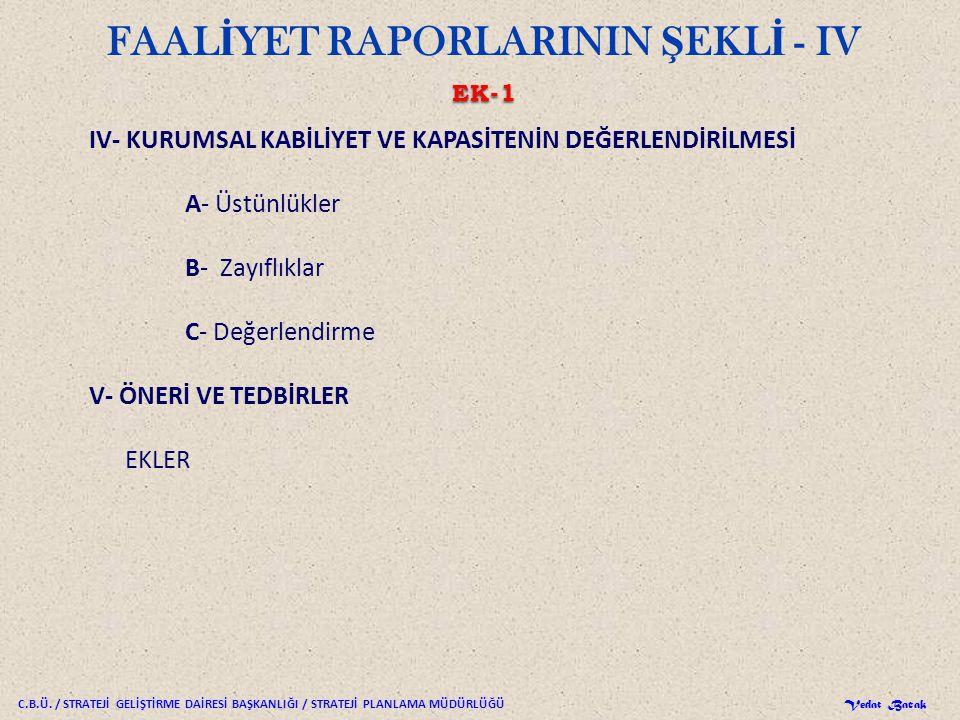 FAALİYET RAPORLARININ ŞEKLİ - IV