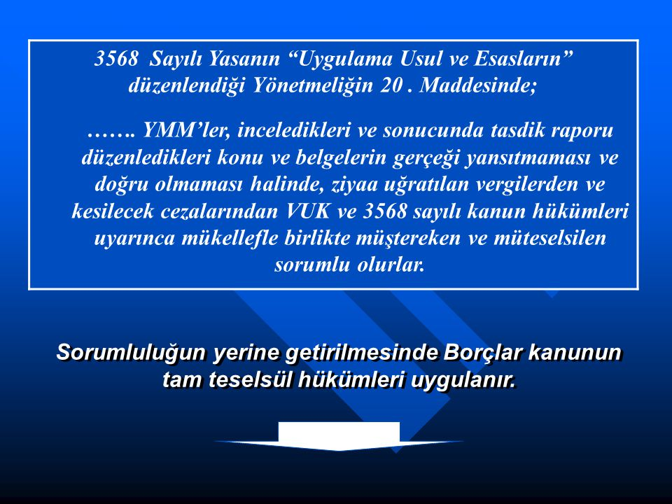 3568 Sayılı Yasanın Uygulama Usul ve Esasların düzenlendiği Yönetmeliğin 20 . Maddesinde;