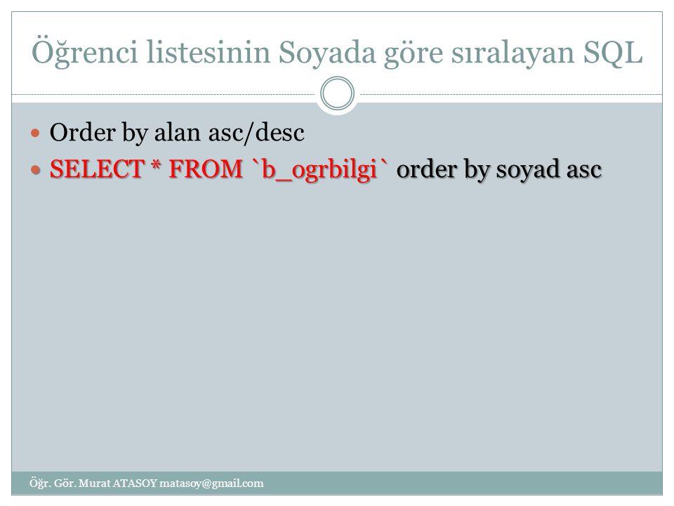 Öğrenci listesinin Soyada göre sıralayan SQL