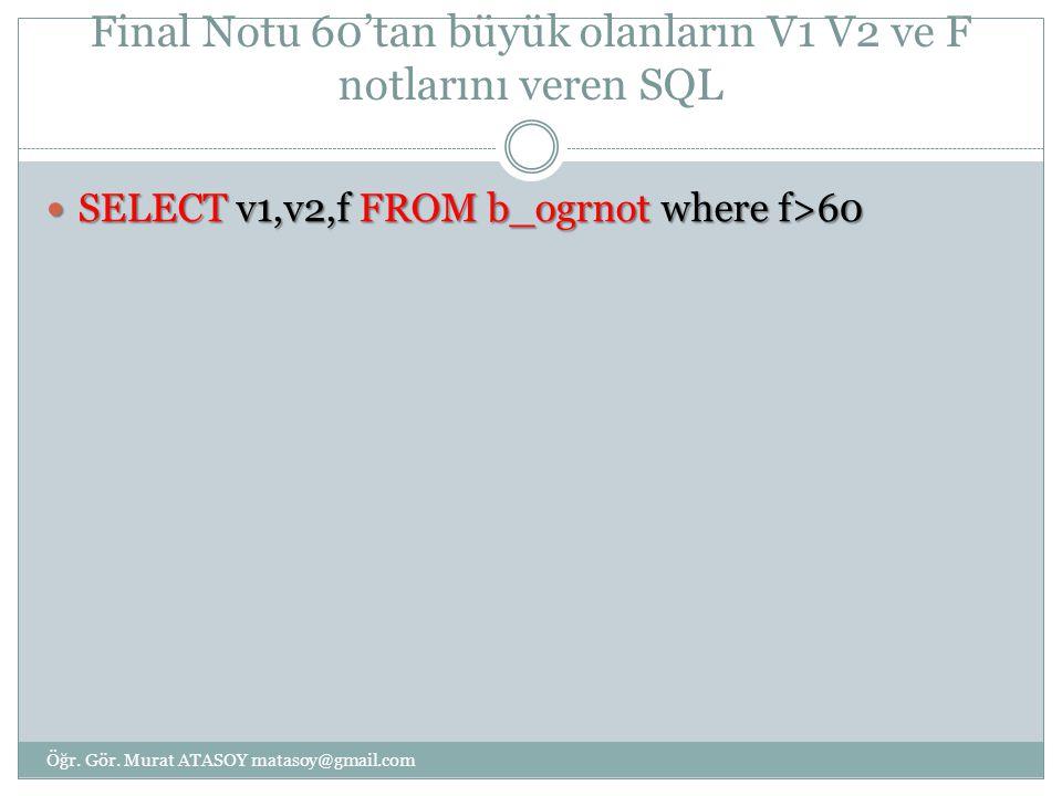 Final Notu 60'tan büyük olanların V1 V2 ve F notlarını veren SQL