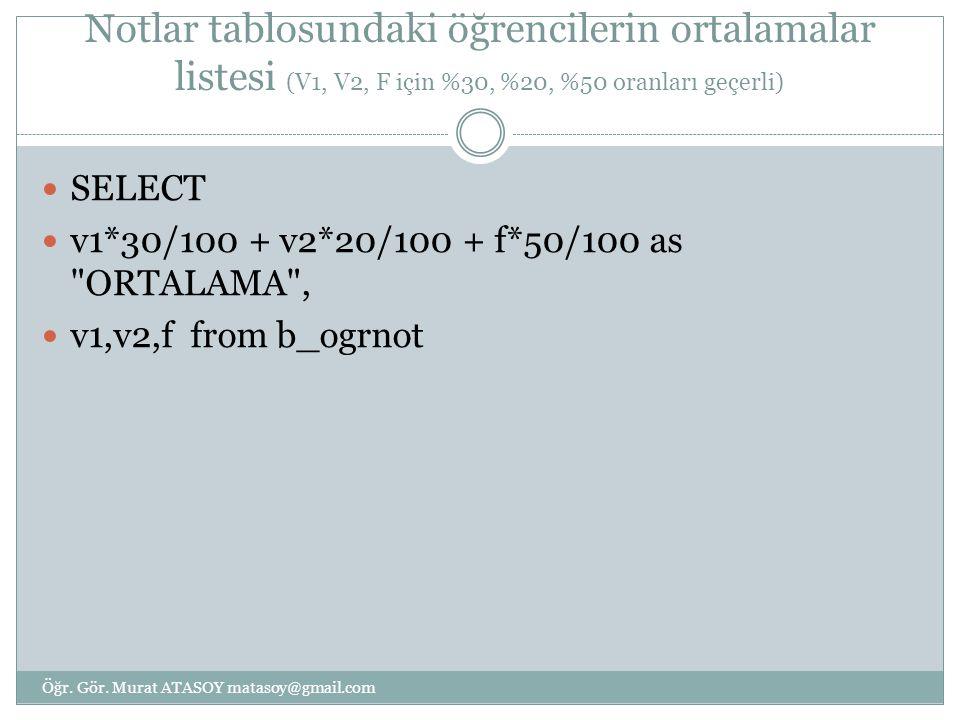 Notlar tablosundaki öğrencilerin ortalamalar listesi (V1, V2, F için %30, %20, %50 oranları geçerli)