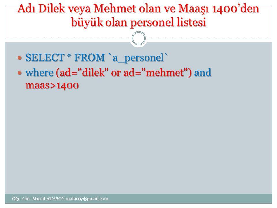 Adı Dilek veya Mehmet olan ve Maaşı 1400'den büyük olan personel listesi