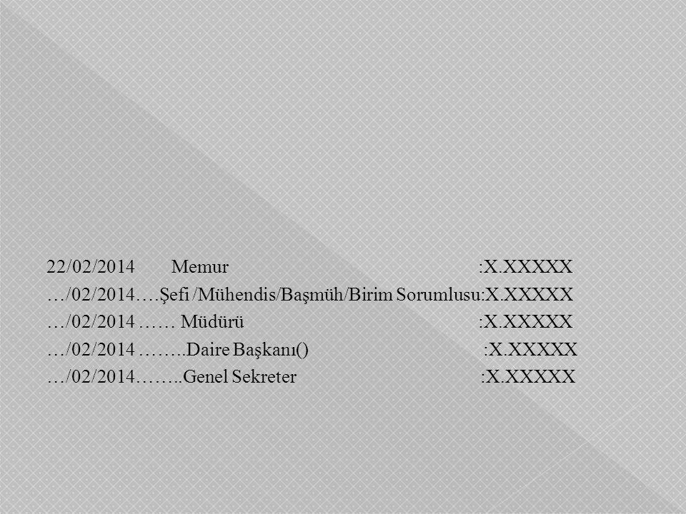 22/02/2014 Memur :X.XXXXX …/02/2014….Şefi /Mühendis/Başmüh/Birim Sorumlusu:X.XXXXX …/02/2014 …… Müdürü :X.XXXXX …/02/2014 ……..Daire Başkanı() :X.XXXXX …/02/2014……..Genel Sekreter :X.XXXXX