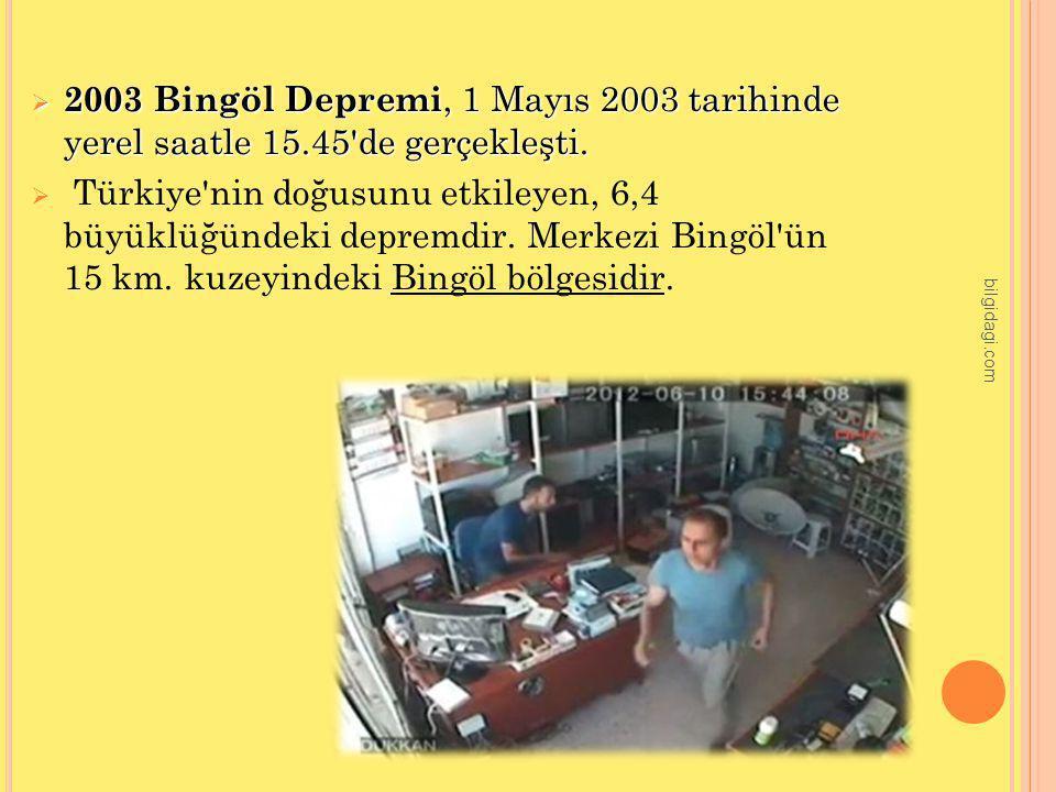 2003 Bingöl Depremi, 1 Mayıs 2003 tarihinde yerel saatle 15