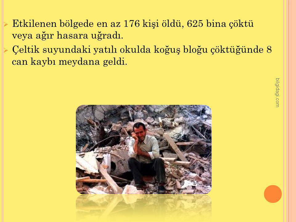 Etkilenen bölgede en az 176 kişi öldü, 625 bina çöktü veya ağır hasara uğradı.