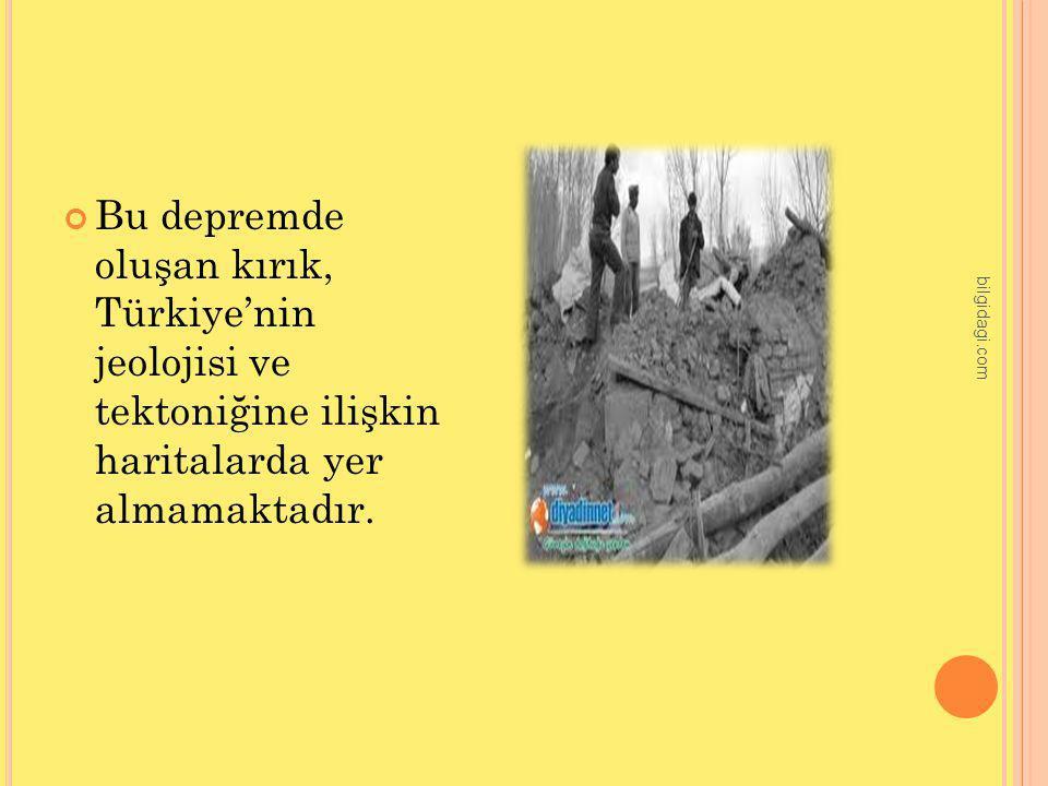 Bu depremde oluşan kırık, Türkiye'nin jeolojisi ve tektoniğine ilişkin haritalarda yer almamaktadır.